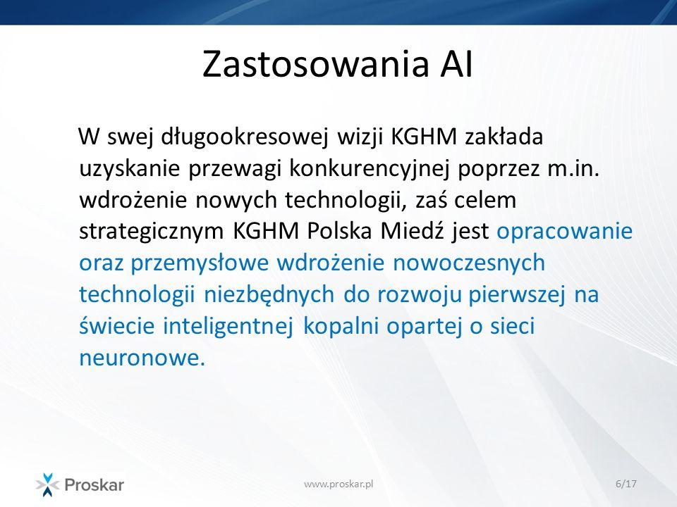 Zastosowania AI www.proskar.pl6/17 W swej długookresowej wizji KGHM zakłada uzyskanie przewagi konkurencyjnej poprzez m.in. wdrożenie nowych technolog