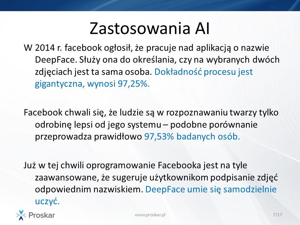 Zastosowania AI www.proskar.pl7/17 W 2014 r. facebook ogłosił, że pracuje nad aplikacją o nazwie DeepFace. Służy ona do określania, czy na wybranych d