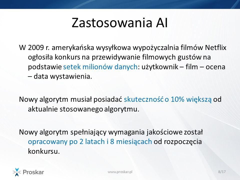 Zastosowania AI www.proskar.pl8/17 W 2009 r. amerykańska wysyłkowa wypożyczalnia filmów Netflix ogłosiła konkurs na przewidywanie filmowych gustów na