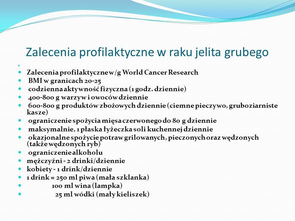 Zalecenia profilaktyczne w raku jelita grubego Zalecenia profilaktyczne w/g World Cancer Research BMI w granicach 20-25 codzienna aktywność fizyczna (