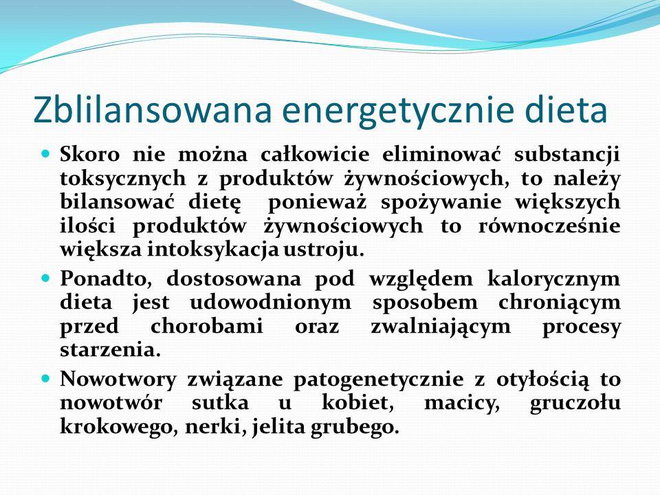 Zblilansowana energetycznie dieta Skoro nie można całkowicie eliminować substancji toksycznych z produktów żywnościowych, to należy bilansować dietę p