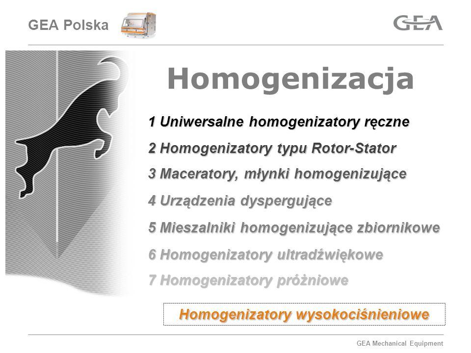 GEA Mechanical Equipment Homogenizacja 1 Uniwersalne homogenizatory ręczne 2 Homogenizatory typu Rotor-Stator 3 Maceratory, młynki homogenizujące 4 Ur