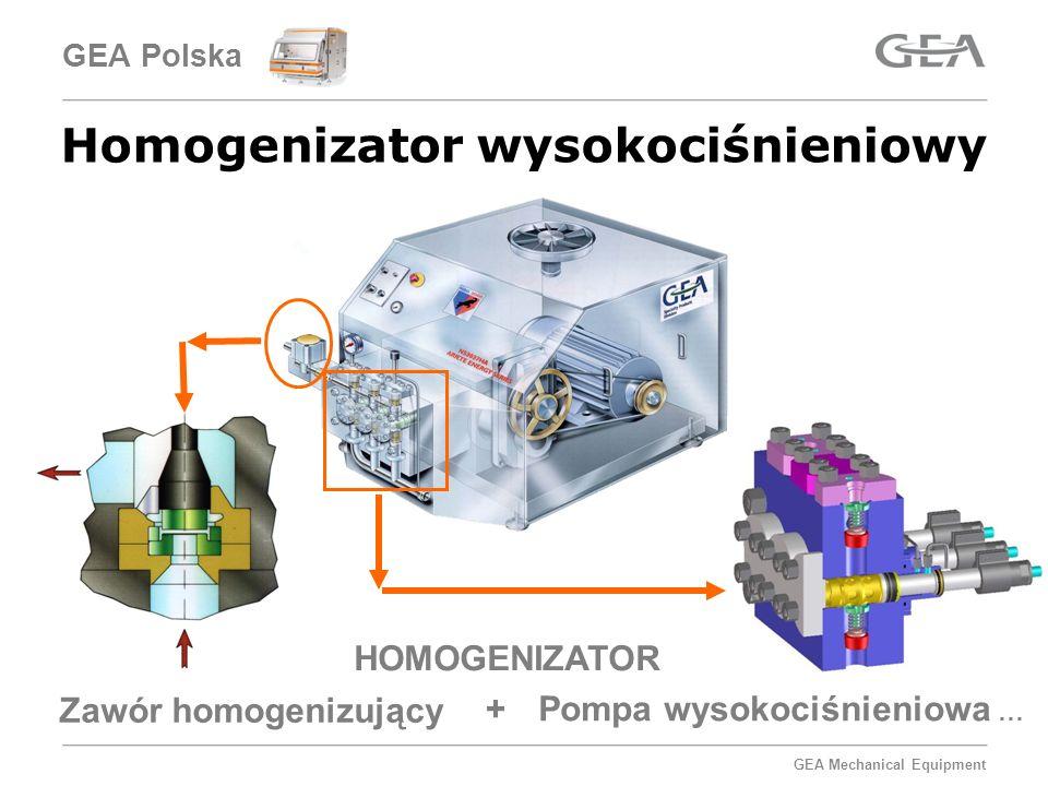 GEA Mechanical Equipment Homogenizator wysokociśnieniowy HOMOGENIZATOR Zawór homogenizujący Pompa wysokociśnieniowa … + GEA Polska