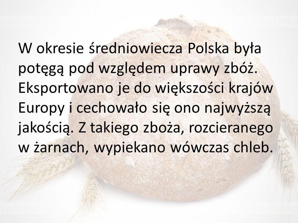 W okresie średniowiecza Polska była potęgą pod względem uprawy zbóż. Eksportowano je do większości krajów Europy i cechowało się ono najwyższą jakości