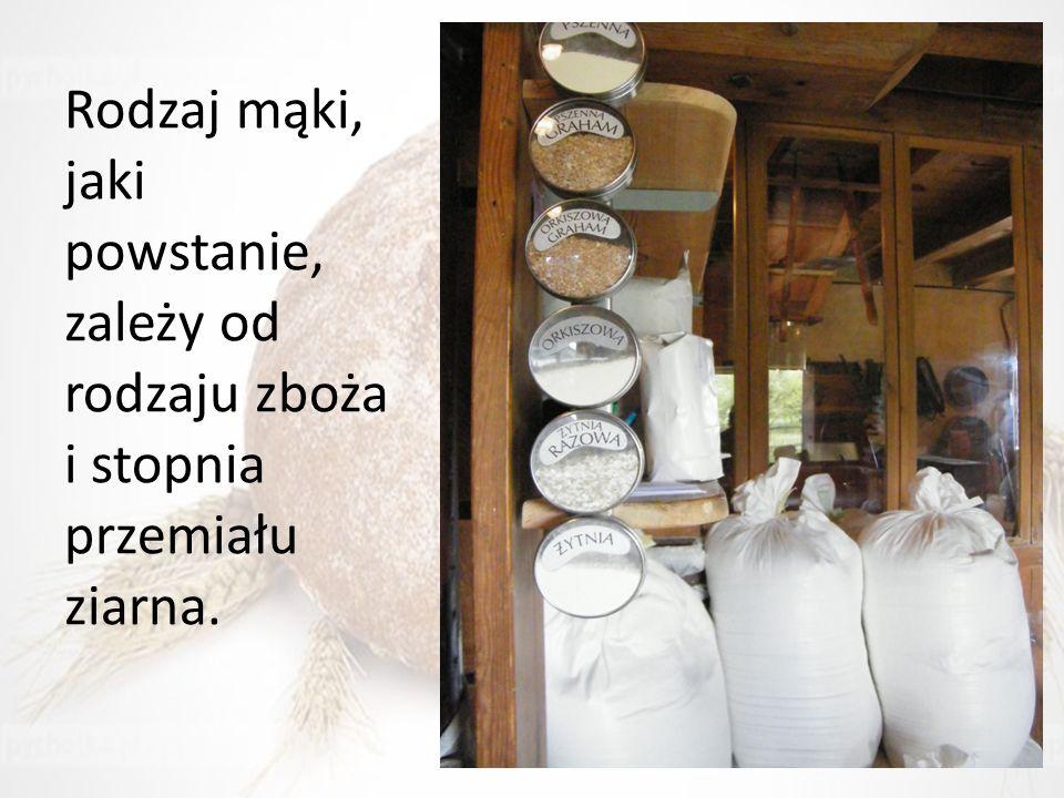 Rodzaj mąki, jaki powstanie, zależy od rodzaju zboża i stopnia przemiału ziarna.