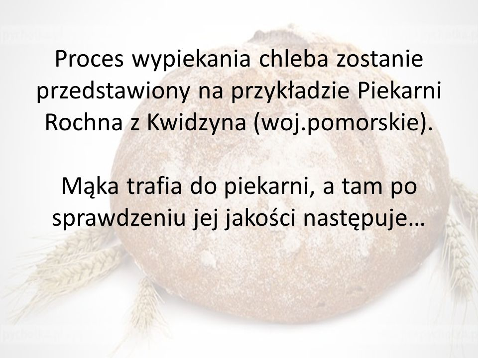 Proces wypiekania chleba zostanie przedstawiony na przykładzie Piekarni Rochna z Kwidzyna (woj.pomorskie). Mąka trafia do piekarni, a tam po sprawdzen