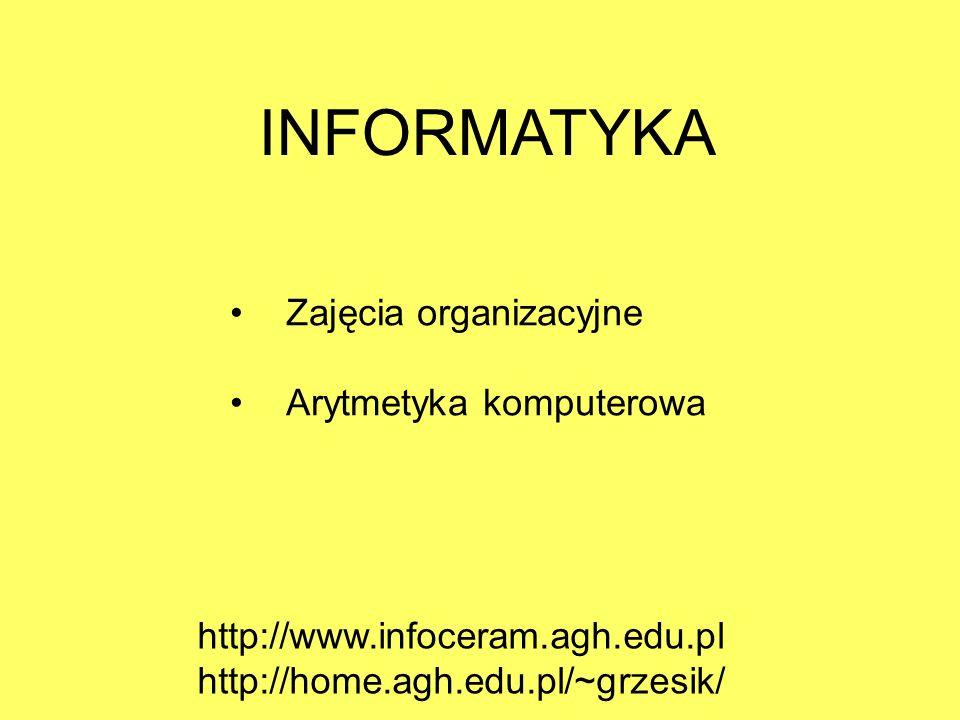INFORMATYKA Zajęcia organizacyjne Arytmetyka komputerowa http://www.infoceram.agh.edu.pl http://home.agh.edu.pl/~grzesik/