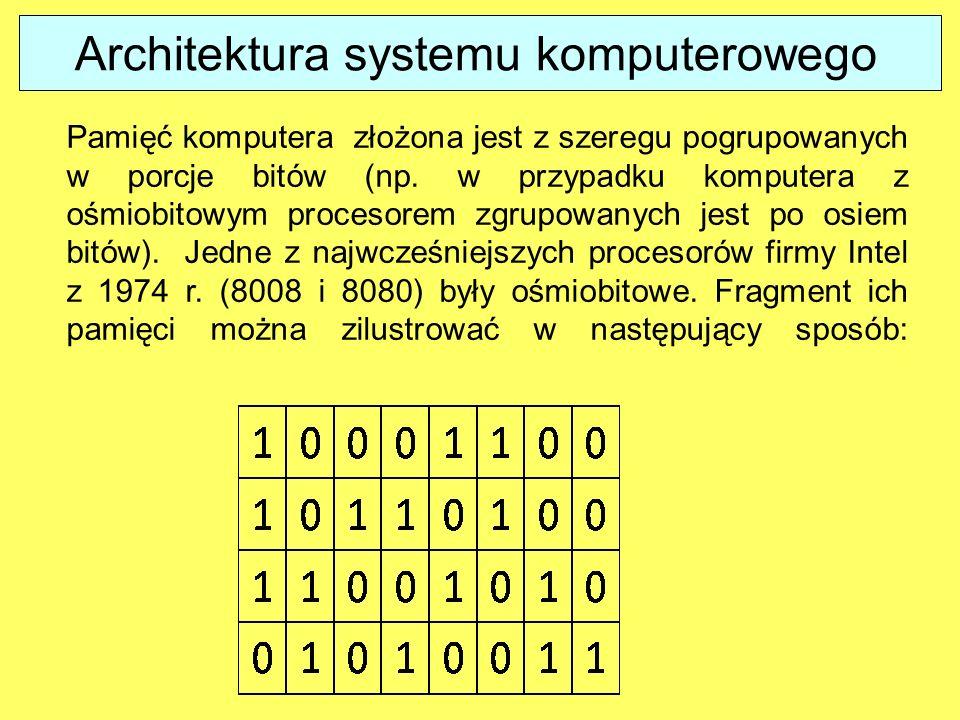 Pamięć komputera złożona jest z szeregu pogrupowanych w porcje bitów (np.