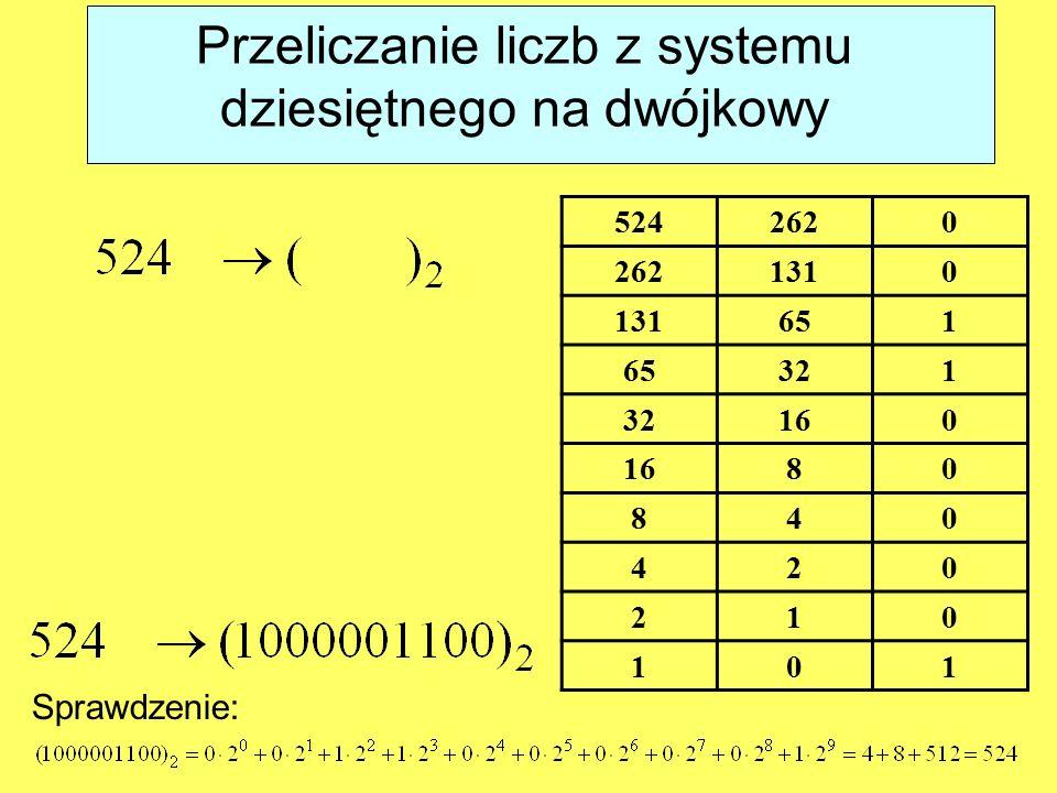 Przeliczanie liczb z systemu dziesiętnego na dwójkowy 5242620 1310 651 321 160 80 840 420 210 101 Sprawdzenie:
