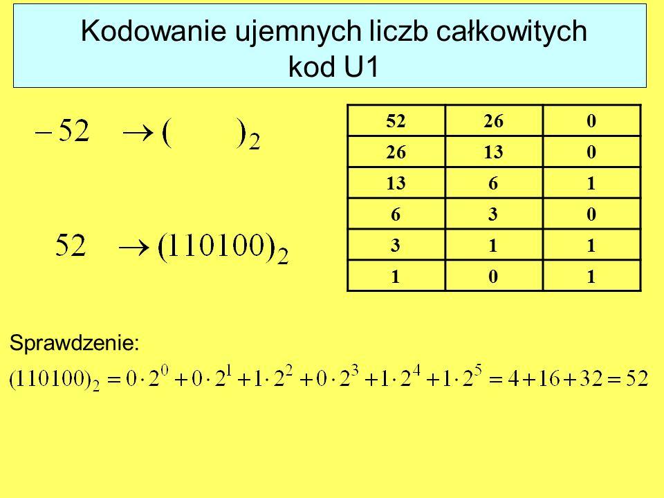 Kodowanie ujemnych liczb całkowitych kod U1 52260 130 61 630 311 101 Sprawdzenie: