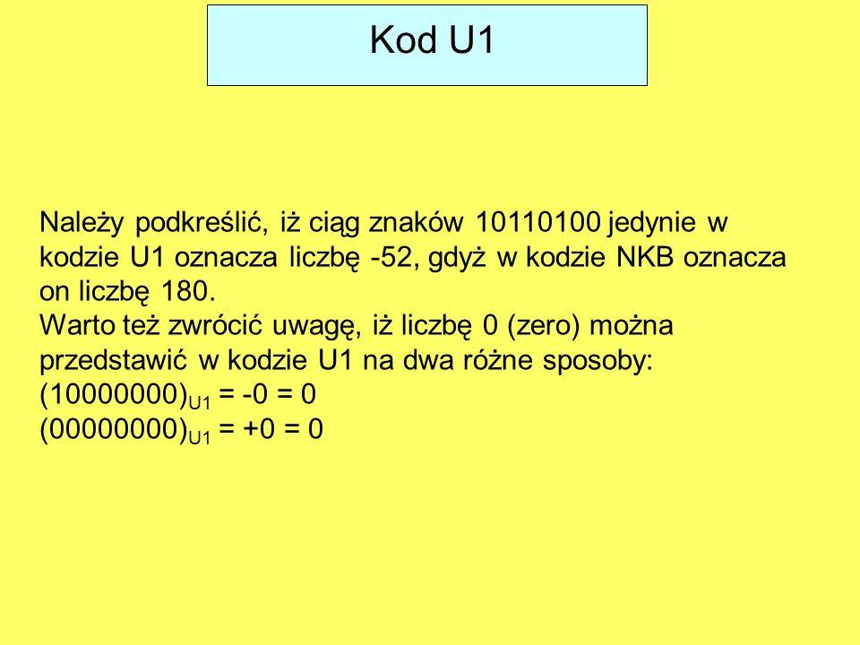 Kod U1 Należy podkreślić, iż ciąg znaków 10110100 jedynie w kodzie U1 oznacza liczbę -52, gdyż w kodzie NKB oznacza on liczbę 180.