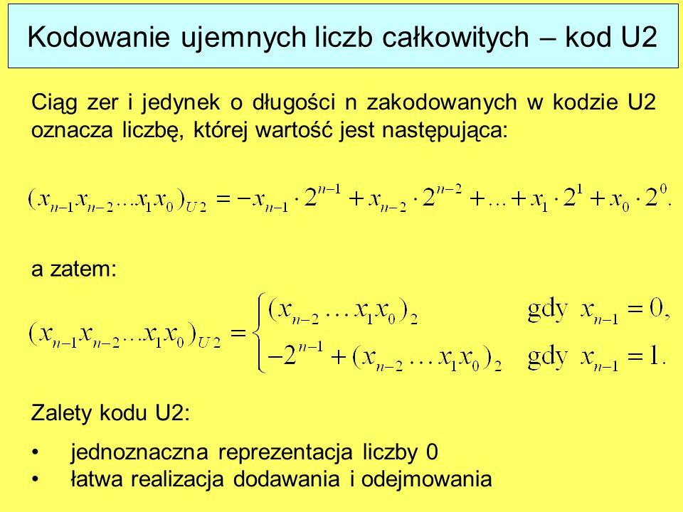 Kodowanie ujemnych liczb całkowitych – kod U2 Ciąg zer i jedynek o długości n zakodowanych w kodzie U2 oznacza liczbę, której wartość jest następująca: Zalety kodu U2: jednoznaczna reprezentacja liczby 0 łatwa realizacja dodawania i odejmowania a zatem: