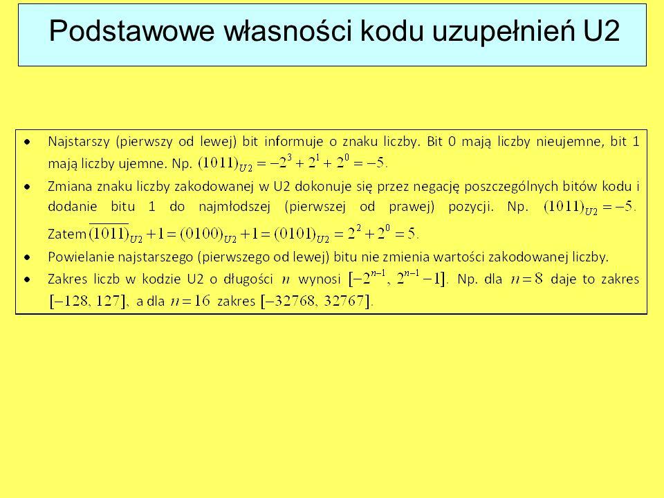 Podstawowe własności kodu uzupełnień U2