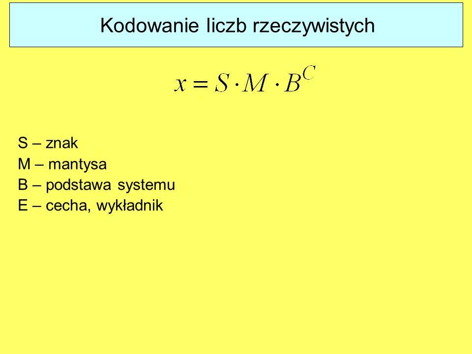 Kodowanie liczb rzeczywistych S – znak M – mantysa B – podstawa systemu E – cecha, wykładnik