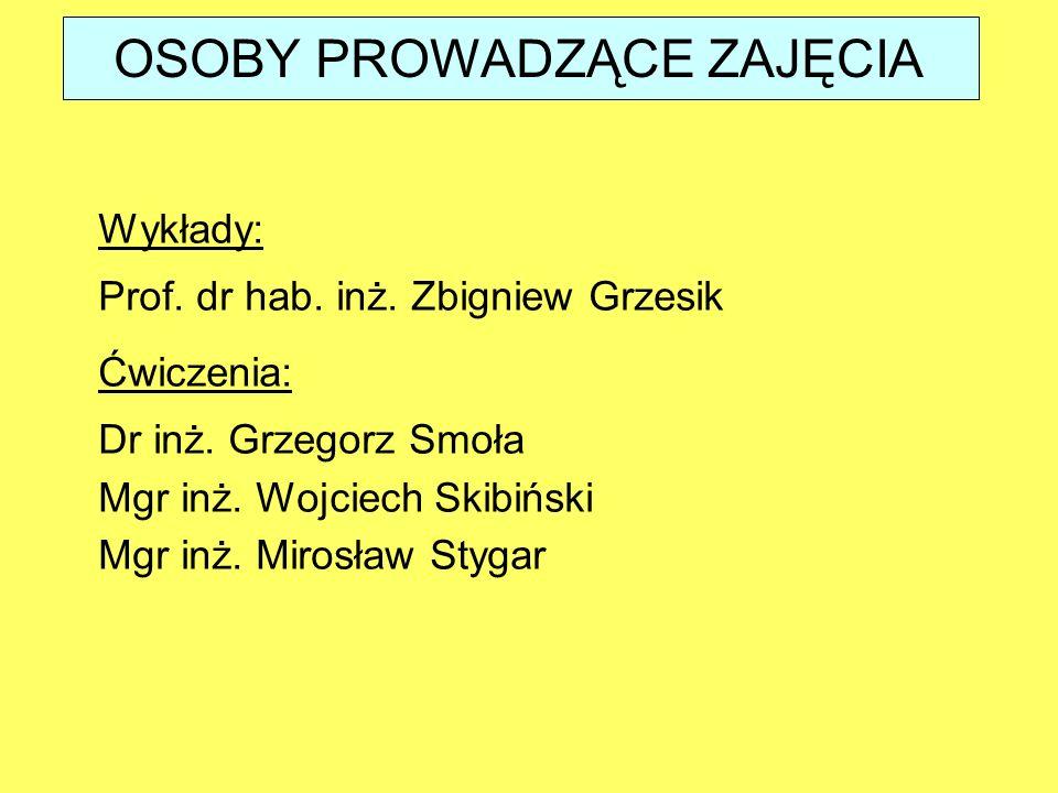 OSOBY PROWADZĄCE ZAJĘCIA Wykłady: Prof.dr hab. inż.