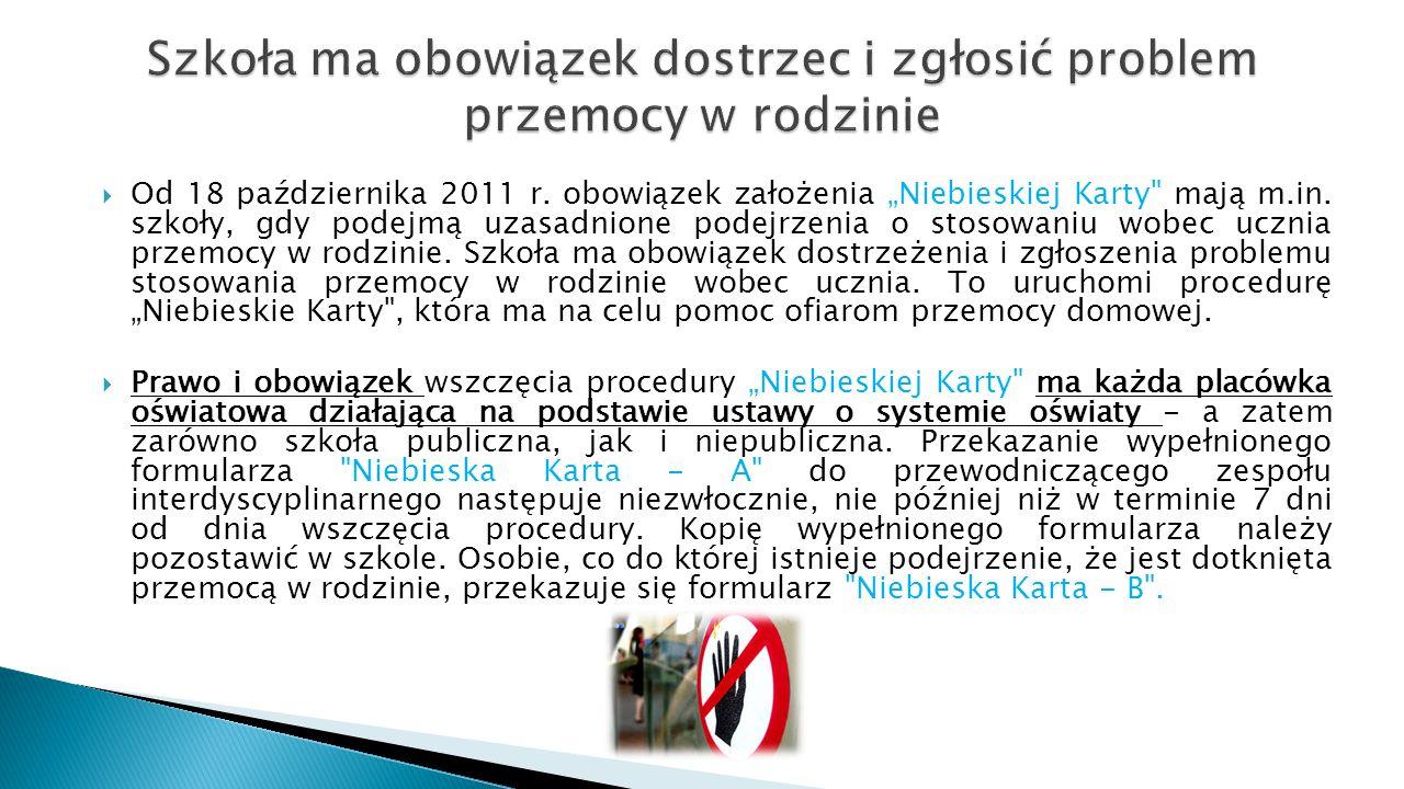 """ Od 18 października 2011 r. obowiązek założenia """"Niebieskiej Karty"""