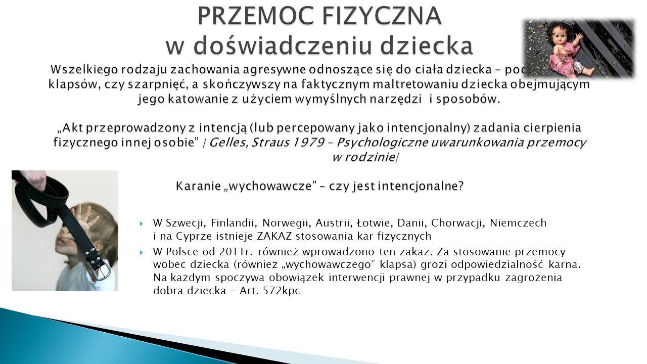  W Szwecji, Finlandii, Norwegii, Austrii, Łotwie, Danii, Chorwacji, Niemczech i na Cyprze istnieje ZAKAZ stosowania kar fizycznych  W Polsce od 2011