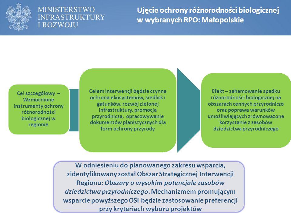 Ujęcie ochrony różnorodności biologicznej w wybranych RPO: Małopolskie Cel szczegółowy – Wzmocnione instrumenty ochrony różnorodności biologicznej w r