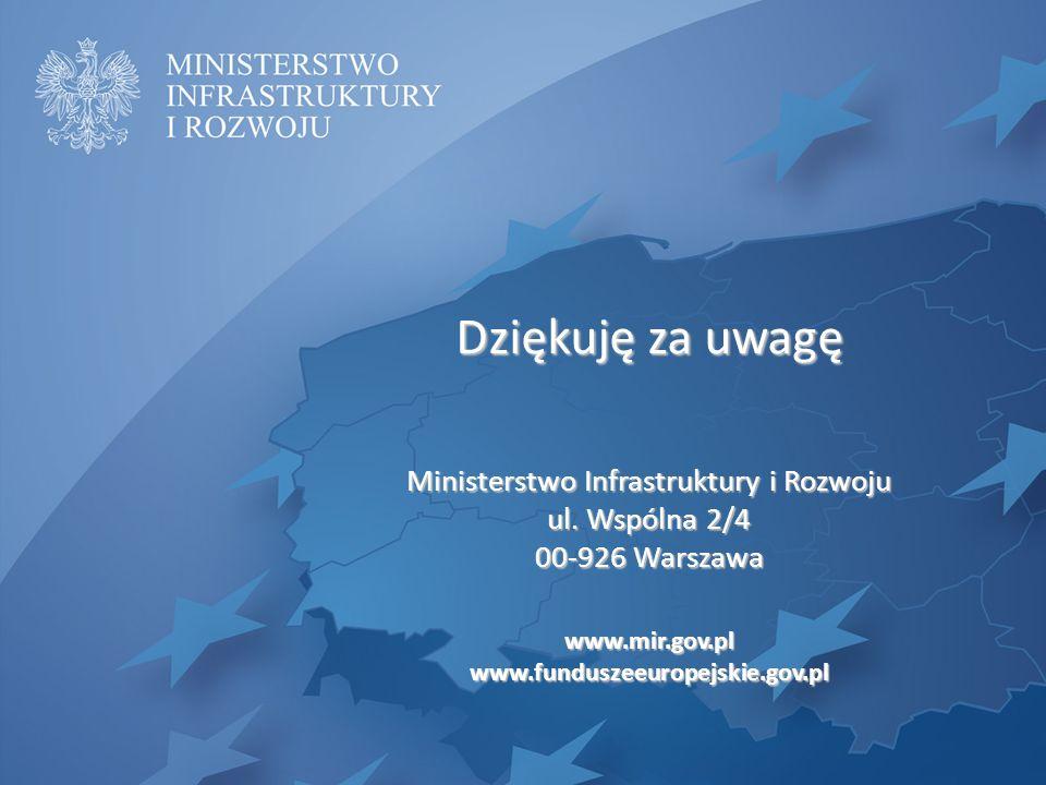 Dziękuję za uwagę Ministerstwo Infrastruktury i Rozwoju ul. Wspólna 2/4 00-926 Warszawa www.mir.gov.plwww.funduszeeuropejskie.gov.pl
