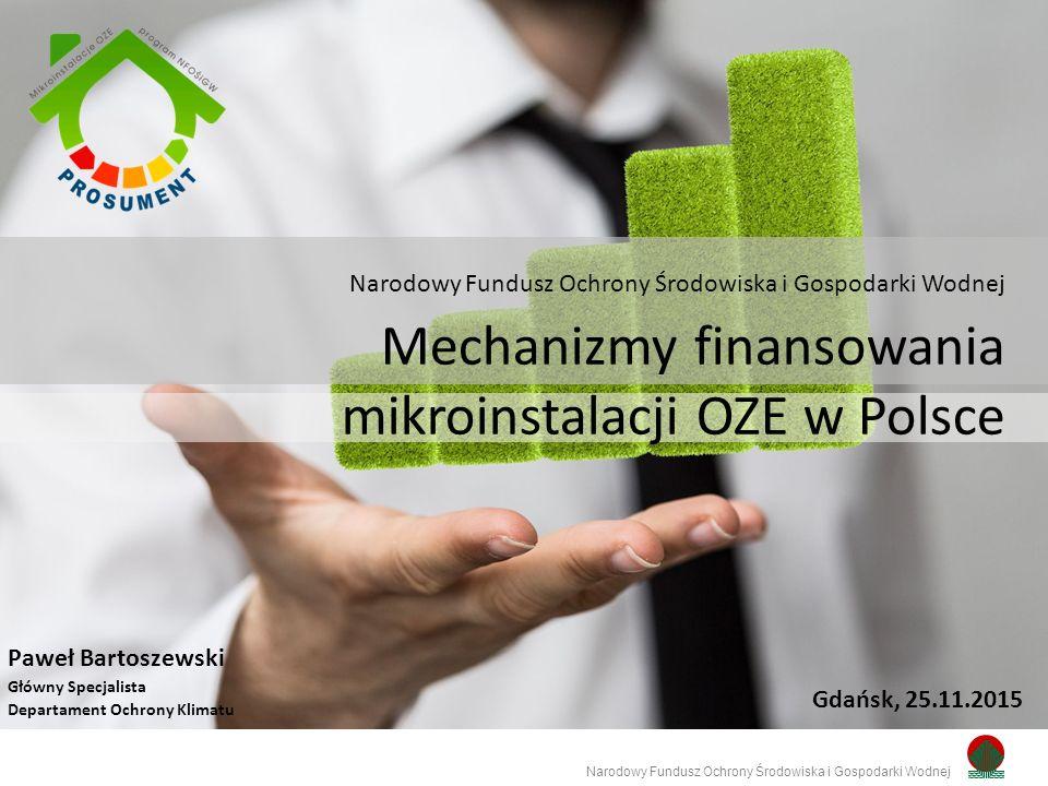 Prosument – linia dofinansowania z przeznaczeniem na zakup i montaż mikroinstalacji OZE Narodowy Fundusz Ochrony Środowiska i Gospodarki Wodnej Maksymalny koszt kwalifikowany I.