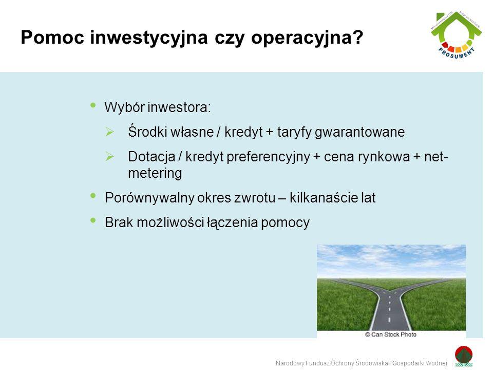 Wybór inwestora:  Środki własne / kredyt + taryfy gwarantowane  Dotacja / kredyt preferencyjny + cena rynkowa + net- metering Porównywalny okres zwrotu – kilkanaście lat Brak możliwości łączenia pomocy Pomoc inwestycyjna czy operacyjna.