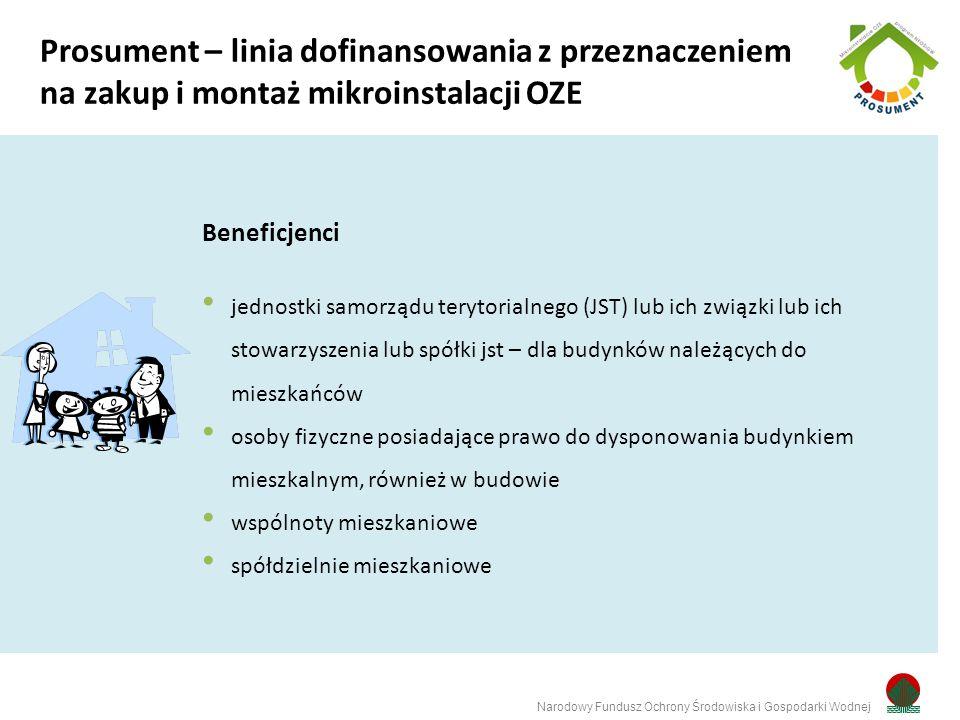Rodzaje przedsięwzięć małe instalacje (ciepło) lub mikroinstalacji OZE do produkcji energii elektrycznej lub ciepła na potrzeby istniejących lub będących w budowie budynków mieszkalnych (> 50 % na potrzeby mieszkaniowe) na własny użytek lub na sprzedaż Narodowy Fundusz Ochrony Środowiska i Gospodarki Wodnej Prosument – linia dofinansowania z przeznaczeniem na zakup i montaż mikroinstalacji OZE