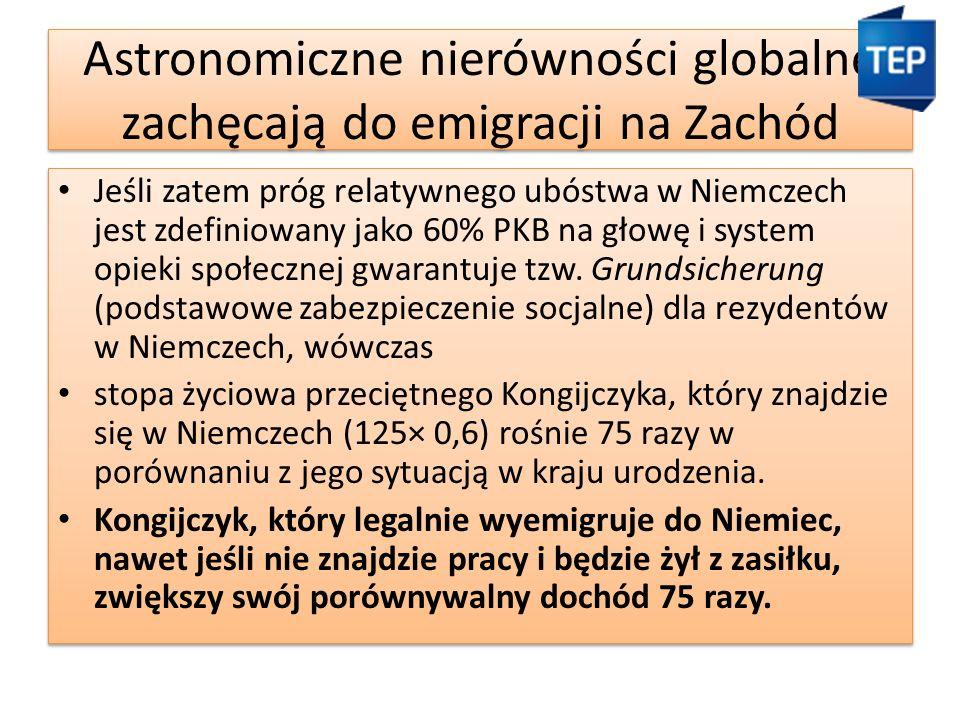 Astronomiczne nierówności globalne zachęcają do emigracji na Zachód Jeśli zatem próg relatywnego ubóstwa w Niemczech jest zdefiniowany jako 60% PKB na głowę i system opieki społecznej gwarantuje tzw.