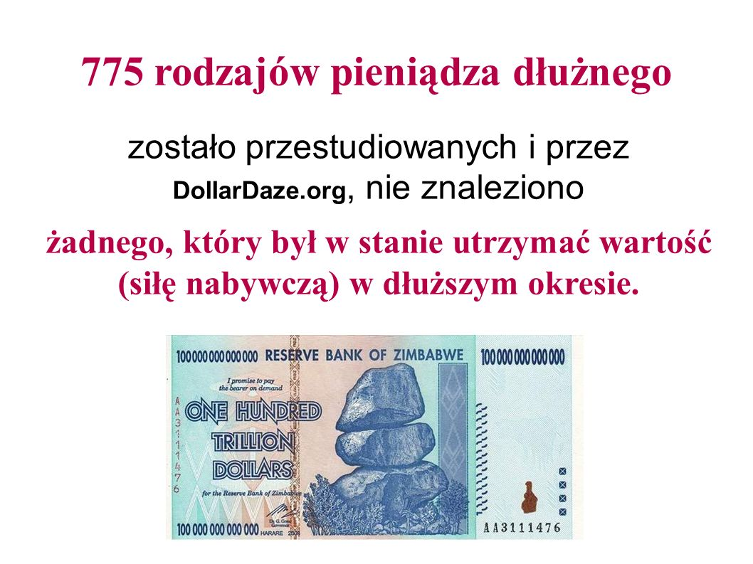 775 rodzajów pieniądza dłużnego zostało przestudiowanych i przez DollarDaze.org, nie znaleziono żadnego, który był w stanie utrzymać wartość (siłę nabywczą) w dłuższym okresie.