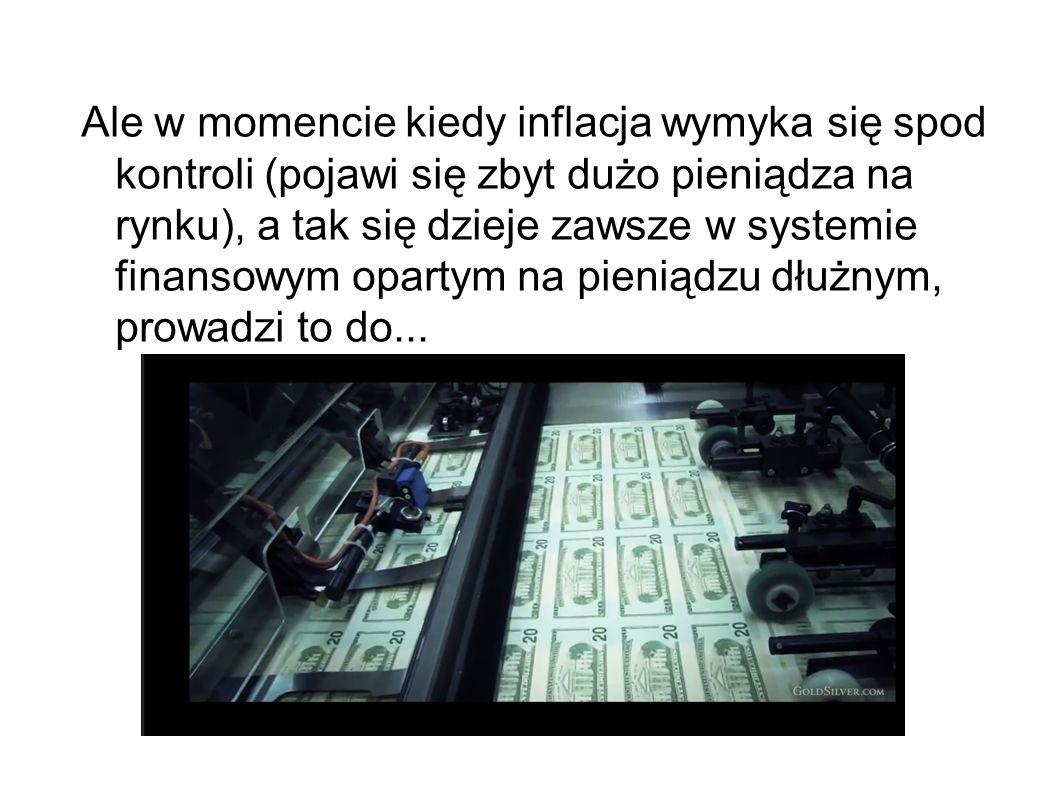 Ale w momencie kiedy inflacja wymyka się spod kontroli (pojawi się zbyt dużo pieniądza na rynku), a tak się dzieje zawsze w systemie finansowym opartym na pieniądzu dłużnym, prowadzi to do...