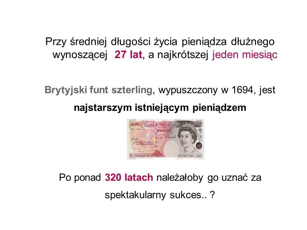 Przy średniej długości życia pieniądza dłużnego wynoszącej 27 lat, a najkrótszej jeden miesiąc Brytyjski funt szterling, wypuszczony w 1694, jest najstarszym istniejącym pieniądzem Po ponad 320 latach należałoby go uznać za spektakularny sukces..