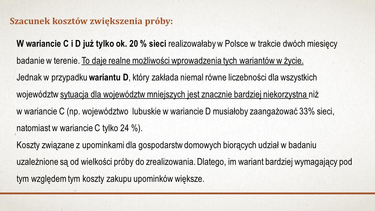 Szacunek kosztów zwiększenia próby: W wariancie C i D już tylko ok. 20 % sieci realizowałaby w Polsce w trakcie dwóch miesięcy badanie w terenie. To d