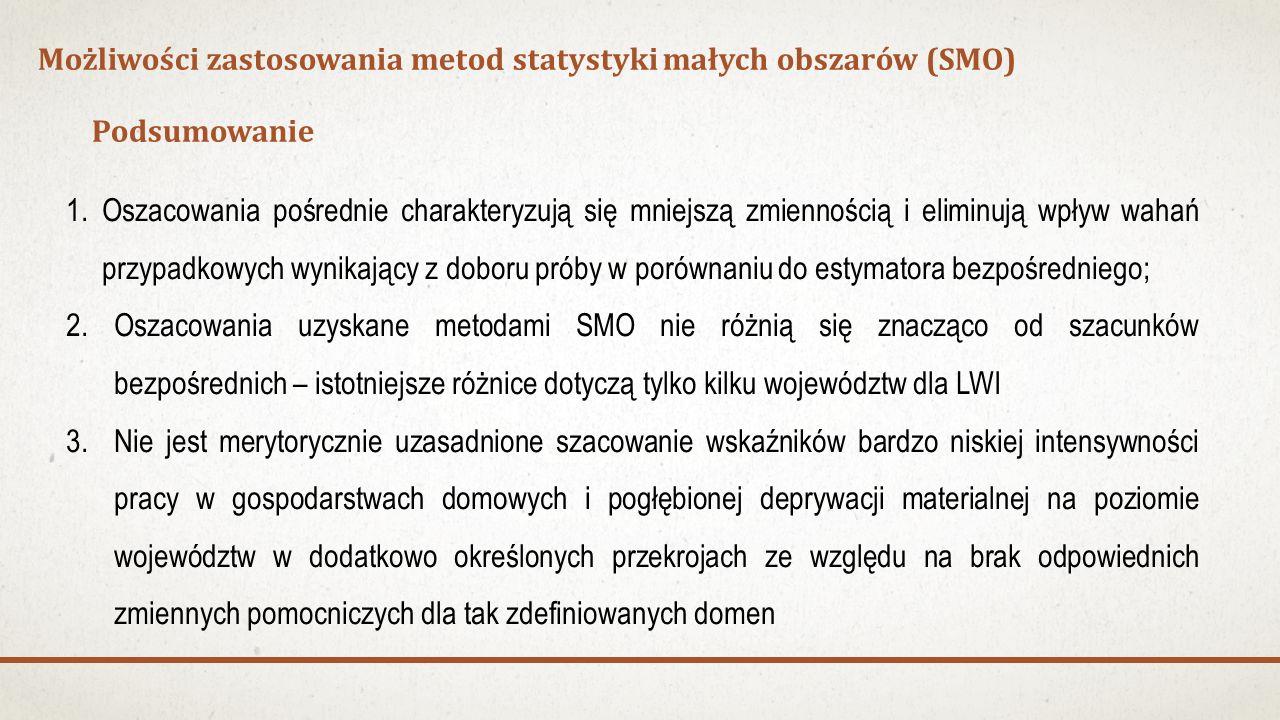 Podsumowanie Możliwości zastosowania metod statystyki małych obszarów (SMO) 1.Oszacowania pośrednie charakteryzują się mniejszą zmiennością i eliminują wpływ wahań przypadkowych wynikający z doboru próby w porównaniu do estymatora bezpośredniego; 2.Oszacowania uzyskane metodami SMO nie różnią się znacząco od szacunków bezpośrednich – istotniejsze różnice dotyczą tylko kilku województw dla LWI 3.Nie jest merytorycznie uzasadnione szacowanie wskaźników bardzo niskiej intensywności pracy w gospodarstwach domowych i pogłębionej deprywacji materialnej na poziomie województw w dodatkowo określonych przekrojach ze względu na brak odpowiednich zmiennych pomocniczych dla tak zdefiniowanych domen