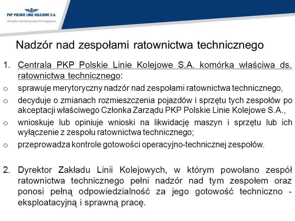 Nadzór nad zespołami ratownictwa technicznego 1.Centrala PKP Polskie Linie Kolejowe S.A. komórka właściwa ds. ratownictwa technicznego: o sprawuje mer