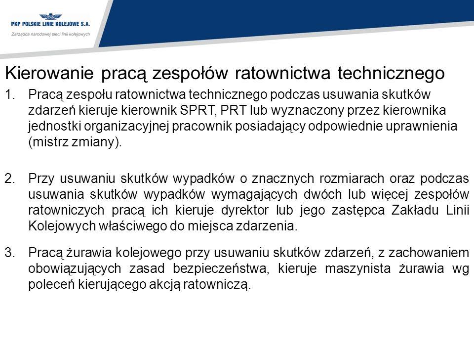 Kierowanie pracą zespołów ratownictwa technicznego 1.Pracą zespołu ratownictwa technicznego podczas usuwania skutków zdarzeń kieruje kierownik SPRT, P