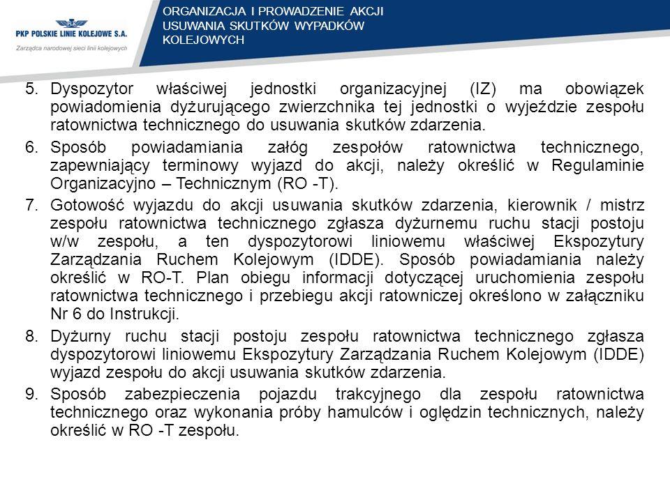 5.Dyspozytor właściwej jednostki organizacyjnej (IZ) ma obowiązek powiadomienia dyżurującego zwierzchnika tej jednostki o wyjeździe zespołu ratownictw