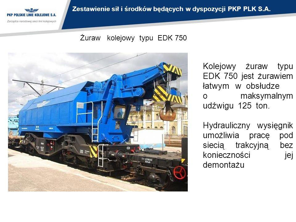 Żuraw kolejowy typu EDK 750 Kolejowy żuraw typu EDK 750 jest żurawiem łatwym w obsłudze o maksymalnym udźwigu 125 ton. Hydrauliczny wysięgnik umożliwi