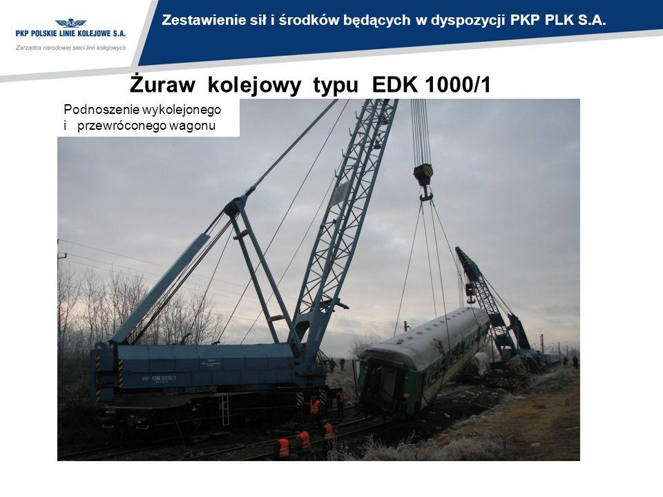 Żuraw kolejowy typu EDK 1000/1 Podnoszenie wykolejonego i przewróconego wagonu Zestawienie sił i środków będących w dyspozycji PKP PLK S.A.
