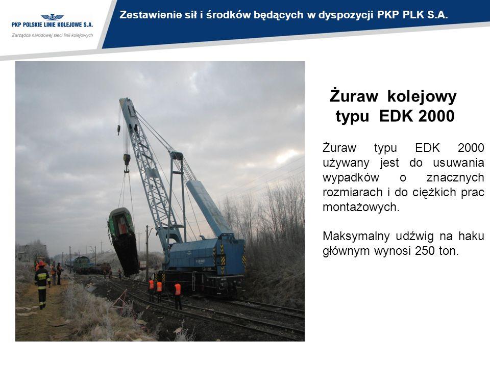 Żuraw kolejowy typu EDK 2000 Żuraw typu EDK 2000 używany jest do usuwania wypadków o znacznych rozmiarach i do ciężkich prac montażowych. Maksymalny u