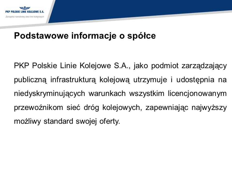 Podstawowe informacje o spółce PKP Polskie Linie Kolejowe S.A., jako podmiot zarządzający publiczną infrastrukturą kolejową utrzymuje i udostępnia na