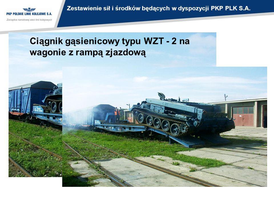 Ciągnik gąsienicowy typu WZT - 2 na wagonie z rampą zjazdową Zestawienie sił i środków będących w dyspozycji PKP PLK S.A.