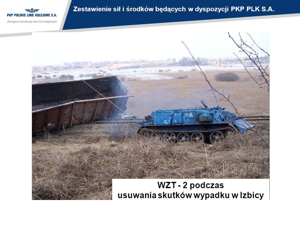 WZT - 2 podczas usuwania skutków wypadku w Izbicy Zestawienie sił i środków będących w dyspozycji PKP PLK S.A.