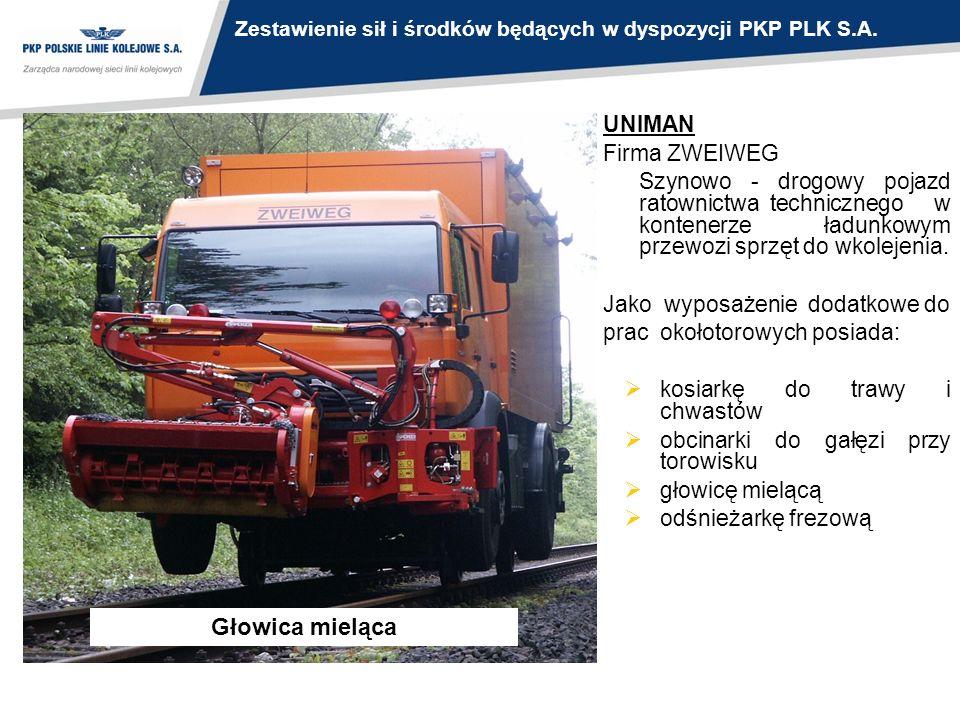UNIMAN Firma ZWEIWEG Szynowo - drogowy pojazd ratownictwa technicznego w kontenerze ładunkowym przewozi sprzęt do wkolejenia. Jako wyposażenie dodatko