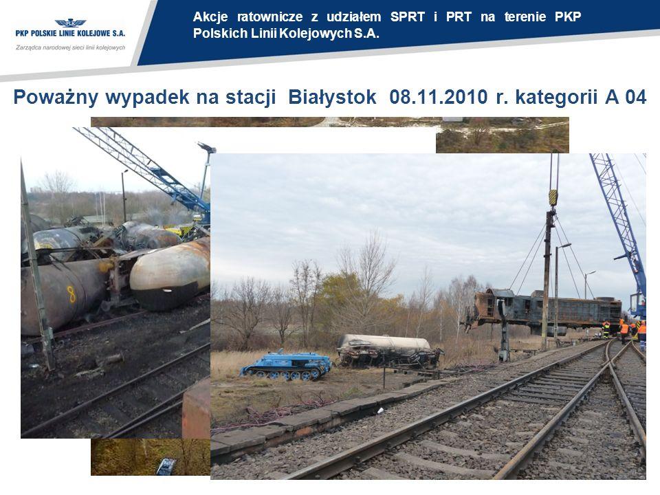 Poważny wypadek na stacji Białystok 08.11.2010 r. kategorii A 04 Akcje ratownicze z udziałem SPRT i PRT na terenie PKP Polskich Linii Kolejowych S.A.