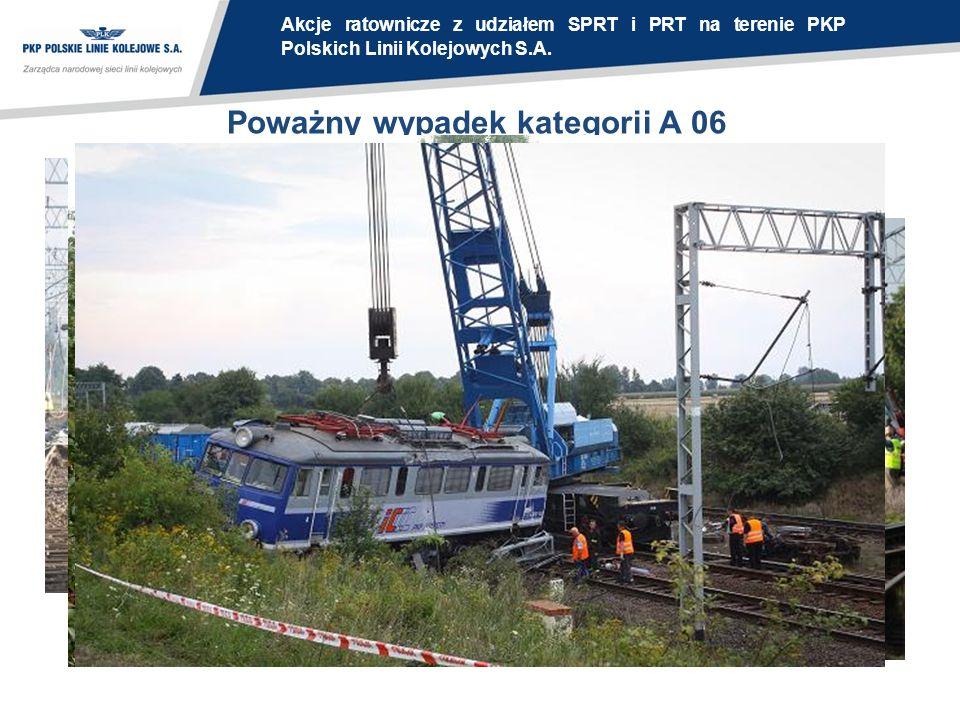 Poważny wypadek kategorii A 06 Akcje ratownicze z udziałem SPRT i PRT na terenie PKP Polskich Linii Kolejowych S.A.