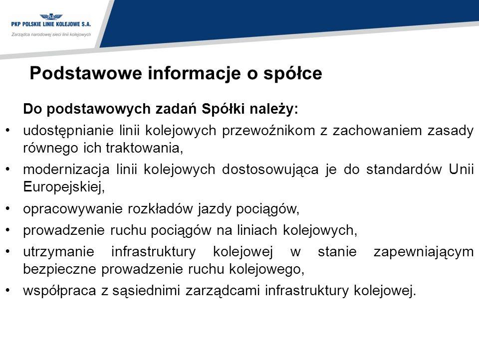 Podstawowe informacje o spółce Do podstawowych zadań Spółki należy: udostępnianie linii kolejowych przewoźnikom z zachowaniem zasady równego ich trakt