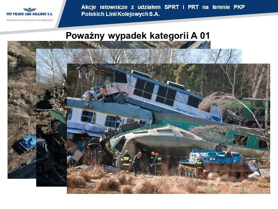 Poważny wypadek kategorii A 01 Akcje ratownicze z udziałem SPRT i PRT na terenie PKP Polskich Linii Kolejowych S.A.