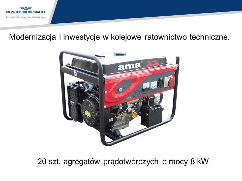 Modernizacja i inwestycje w kolejowe ratownictwo techniczne. 20 szt. agregatów prądotwórczych o mocy 8 kW