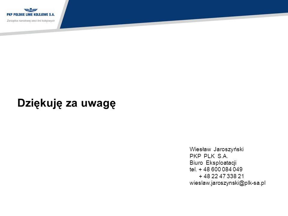 Dziękuję za uwagę Wiesław Jaroszyński PKP PLK S.A. Biuro Eksploatacji tel. + 48 600 084 049 + 48 22 47 338 21 wieslaw.jaroszynski@plk-sa.pl
