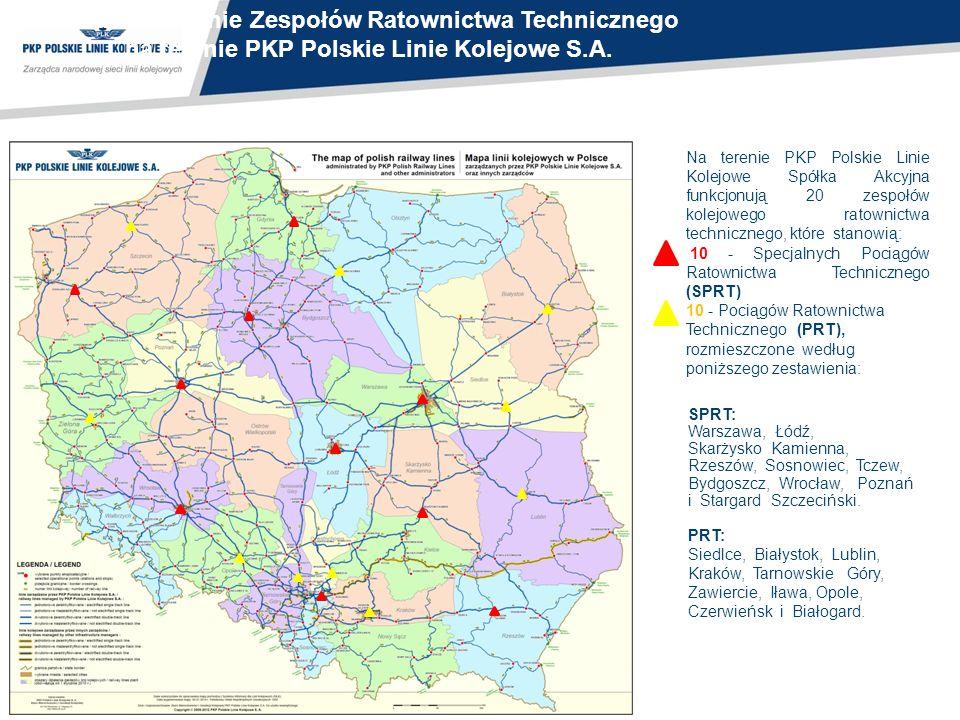 Na terenie PKP Polskie Linie Kolejowe Spółka Akcyjna funkcjonują 20 zespołów kolejowego ratownictwa technicznego, które stanowią: 10 - Specjalnych Poc