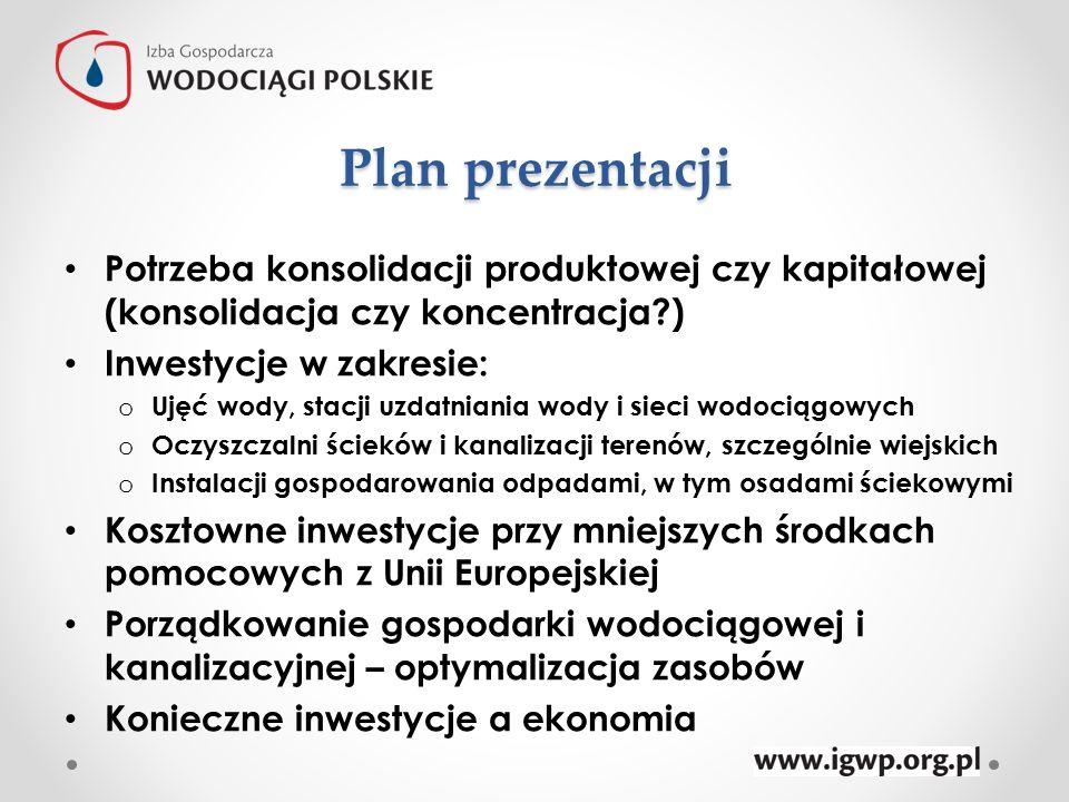 Plan prezentacji Potrzeba konsolidacji produktowej czy kapitałowej (konsolidacja czy koncentracja?) Inwestycje w zakresie: o Ujęć wody, stacji uzdatni